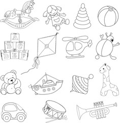 Baby's toys .Coloring book. Vector illustration