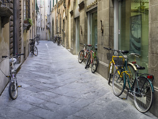 tuscan streets with bikes