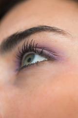 Woman having made up eyes