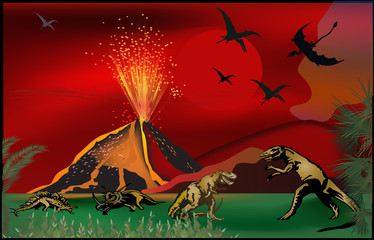 dinosaurs near volcano at sunset
