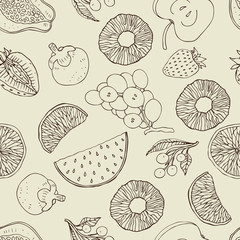 Seamless fruits background.