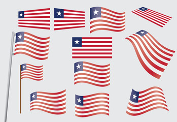 set of flags of Liberia vector illustration