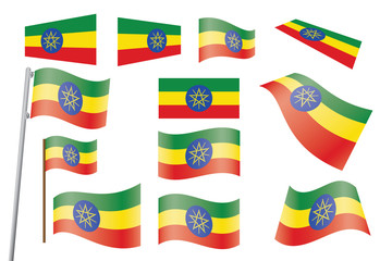 set of flags of Ethiopia vector illustration