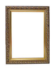 Empty vintage golden frame