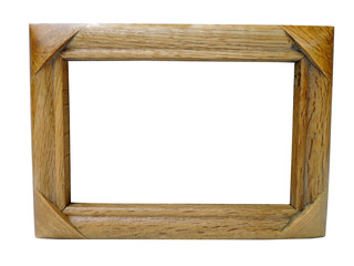 Empty wood frame isolated on white
