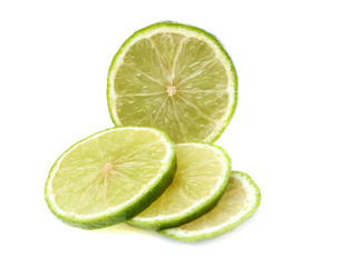 Green lime cut into circles