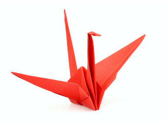 Isolated red origami bird