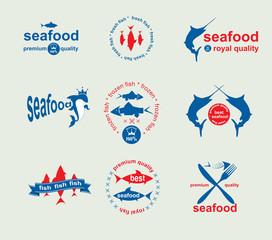 Set of vintage and modern seafood labels for restaurant and seaf