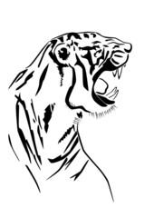 Tiger silhouette in profile