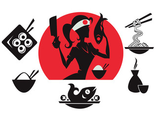 beautiful sushi chief,  asian food silhouettes