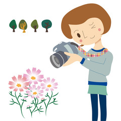 花を撮影する女の子