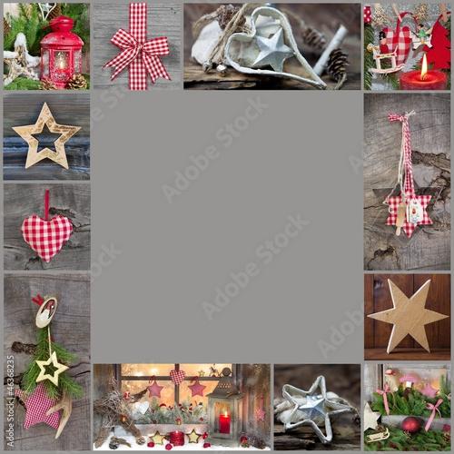 weihnachtlicher rahmen rustikal in rot und grau. Black Bedroom Furniture Sets. Home Design Ideas