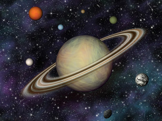 Wall Mural - 3D Solar System. Saturn and its 7 largest moons.