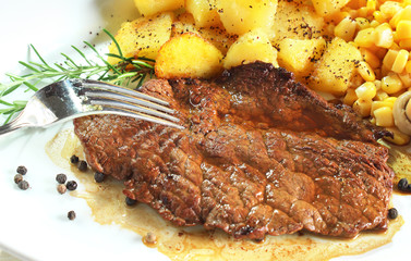 Gourmet steak flavored with black pepper
