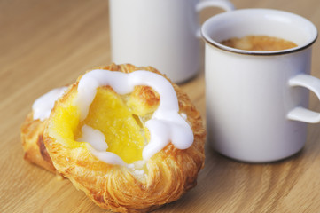 Danish pastry with coffee