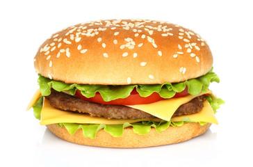 Fototapeta Big hamburger on white background obraz