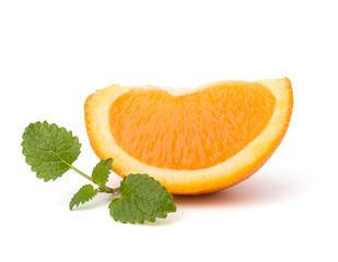 Orange fruit segment and citron mint leaf