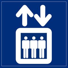Wall Mural - Schild blau - Fahrstuhl