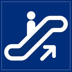 Papier Peint - Schild blau - Rolltreppe nach oben