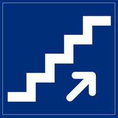 Fototapete - Schild blau - Treppe nach oben