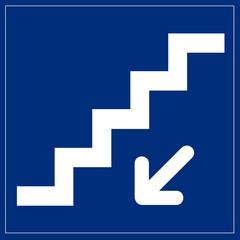 Fototapete - Schilld blau - Treppen nach unten