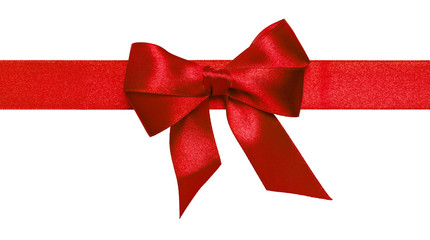 Red ribbon with bow with tails