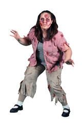 A Female Zombie Horror on White