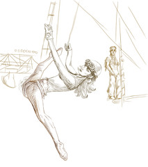 gymnastics and circus - full sized hand drawing (digital tablet)