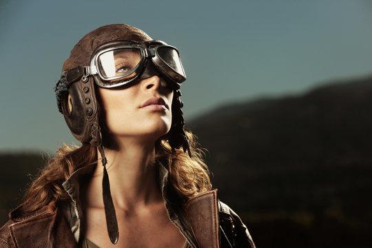 Woman aviator: fashion model portrait