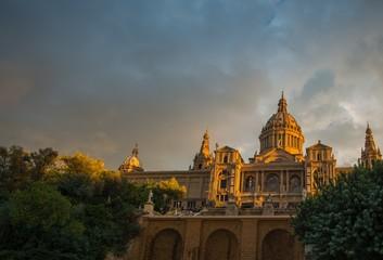Museu Nacional d'Art de Catalunya at sunset. Barcelona, Spain