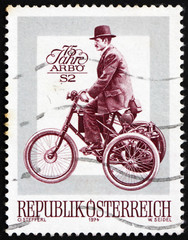 Postage stamp Austria 1974 De Dion Bouton Motor Tricycle