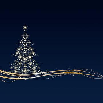 Weihnachten - Hintergrund - Baum - Sterne - Blau/Gold