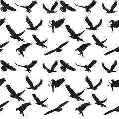 Eagle symbol set seamless pattern. Vector illustration. EPS 10.