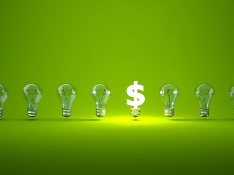 Luminous dollar sign  with light bulbs