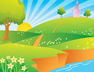 Poster Castle vector illustration of a village scene at beautiful morning