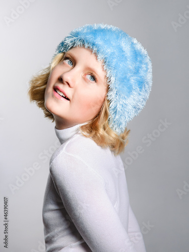 a93b4f641bd30 Cute preteen girl looking up to side. The Christmas dreams conce ...