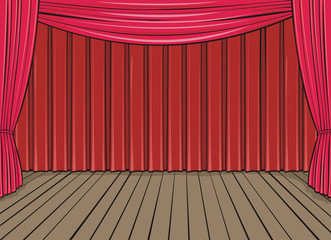 stage and red curtain