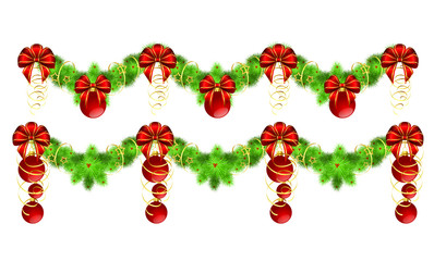 two christmas garlands with golden and red decorations
