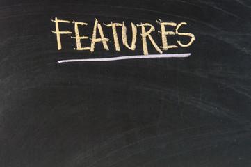 Features - blank list on a blackboard background