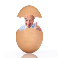 Man in chicken egg