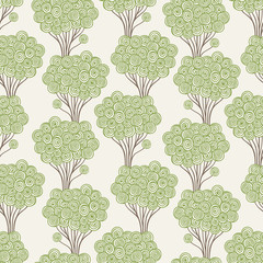 Seamless light pattern. Stylized forest. Vector illustration