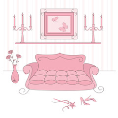 Vector illustration of a  princess living room