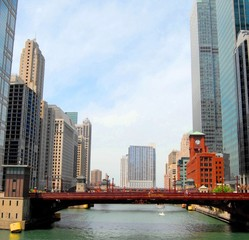 Fototapete - Downtown Chicago Waterfront and High Rise Buildings,USA