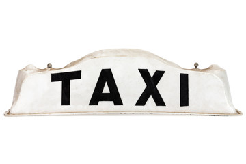 White taxi roof sign isolated on white