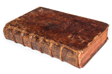 Seventeenth century antique book isolated on white