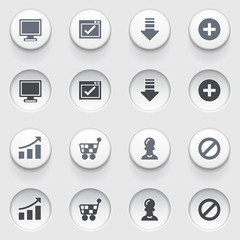 Basic web icons on white buttons. Set 2.