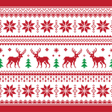 Christmas and Winter knitted seamless pattern or card with deer