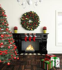 cristmas near fireplace