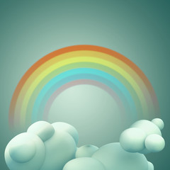 3D Rainbow on blue sky