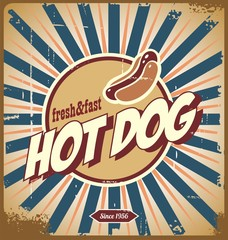 Fond de hotte en verre imprimé Affiche vintage Hot dog vintage sign